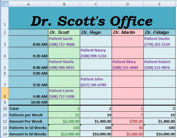 Excel Doctor's Schedule