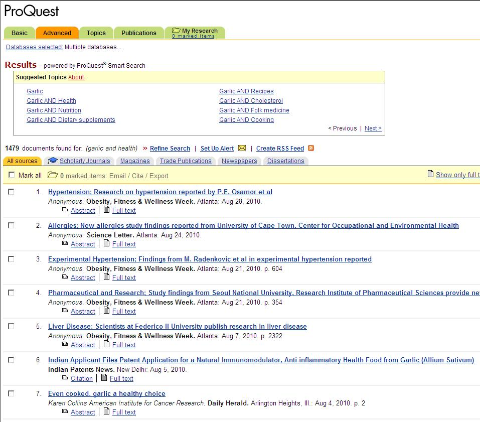 ProQuest Screenshot Finding Your Thesis Topic