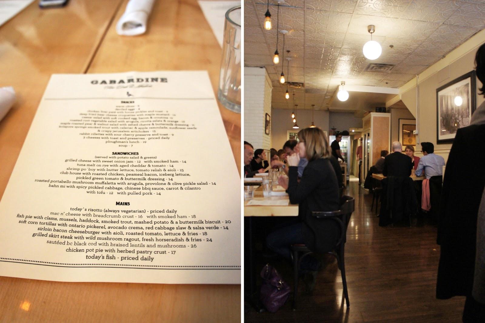 The Gabardine Restaurant and Menu
