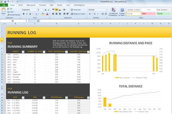 Excel Running Log Template